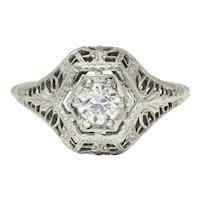 Edwardian 0.32 CTW Diamond 18 Karat White Gold Hexagonal Engagement Ring