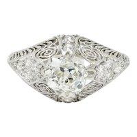 Edwardian 1.36 CTW Old Mine Diamond Platinum Engagement Ring GIA
