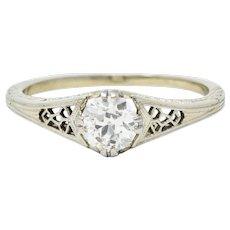 Jones & Woodland Co. 0.44 CTW Diamond 18 Karat White Gold Engagement Ring