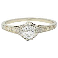 Art Deco 0.33 CTW Diamond 19 Karat White Gold Engagement Ring