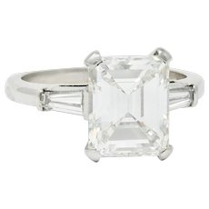 1950's Mid-Century 4.12 CTW Diamond Platinum Three Stone Ring GIA