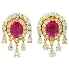 Pink Tourmaline 5.40 CTW Diamond 18 Karat Gold Ear-Clip Earrings
