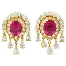 Pink Tourmaline 5.40 CTW Diamond 18 Karat Gold Ear-Clip Earrings