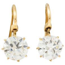 Victorian 2.17 CTW Diamond 14 Karat Gold Drop Earrings GIA