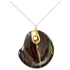 Elsa Peretti Tiffany & Co. Tiger Iron 18 Karat Gold Touchstone Pendant Necklace