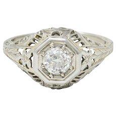 Edwardian 0.44 CTW Diamond 18 Karat White Gold Engagement Ring