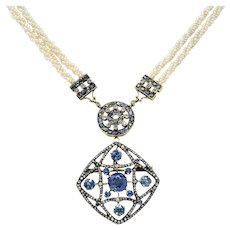 Victorian Sapphire Diamond Pearl Silver-Topped 18 Karat Gold Strand Pendant Sautoir Necklace