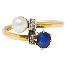 Victorian 0.46 CTW Sapphire Pearl Diamond 18 Karat Gold Bypass Ring