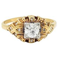 Art Deco 0.52 CTW Diamond 14 Karat Gold Geometric Band Ring