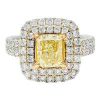 Contemporary 2.60 CTW Yellow Diamond & White Diamond 18 Karat Gold Ring
