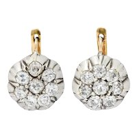 Edwardian 2.00 CTW Diamond Platinum-Topped 14 Karat Gold Cluster Earrings