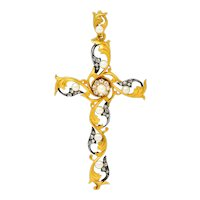 Art Nouveau Diamond Pearl Silver 18 Karat Gold Cross Pendant