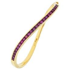 Oscar Heyman Bros. Vintage 3.00 CTW Ruby 18 Karat Gold Wave Bangle
