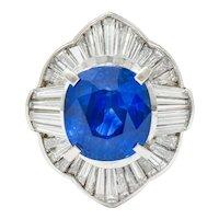 Contemporary 9.73 CTW Ceylon Sapphire Diamond Platinum Ballerina Halo Ring AGL