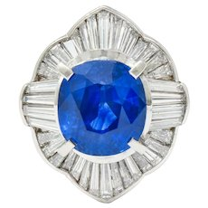 Contemporary 9.73 CTW Ceylon Sapphire Diamond Platinum Ballerina Halo Ring AGL