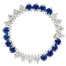 1950's J.E. Caldwell 2.35 CTW Diamond Sapphire Platinum Pendant Brooch