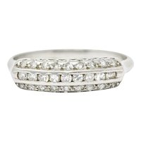 Retro 0.45 CTW Diamond Platinum Fishtail Band Ring