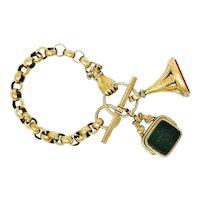 Victorian 14 & 18 Karat Gold Fob Charm Bracelet