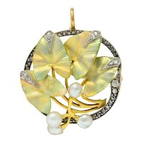 Art Nouveau Enamel Pearl Diamond Platinum-Topped 18 Karat Two-Tone Gold Ivy Brooch