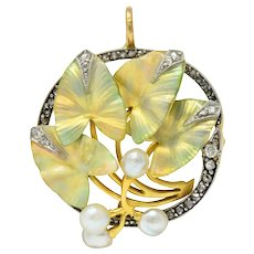 Art Nouveau Enamel Pearl Diamond Platinum-Topped 18 Karat Two-Tone Gold Ivy Brooch