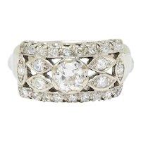 Retro 1.00 CTW 14 Karat White Gold Eyelet Band Ring