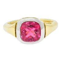 Contemporary Pink Tourmaline Platinum 18 Karat Gold Gemstone Ring