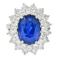 Impressive 13.63 CTW No Heat Ceylon Sapphire Diamond Platinum Cluster Ring