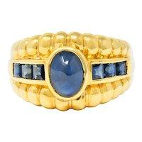 Sabbadini Vintage Sapphire 18 Karat Gold Band Ring