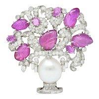 Art Deco Ruby Diamond Platinum Giradinetto Flower Brooch