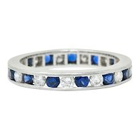 Classic Sapphire Diamond Platinum Eternity Band Stack Ring