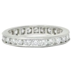 Classic 0.78 CTW Diamond Platinum Eternity Band Stack Ring