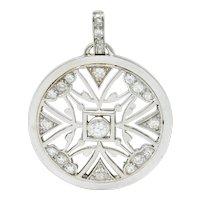 French Art Deco Diamond 18 Karat White Gold Circular Pendant