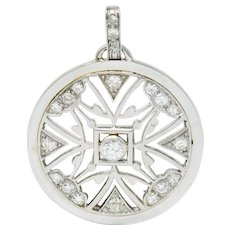 French Art Deco Diamond 18 Karat White Gold Circular Pendant