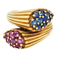 Vintage Sapphire Ruby 14 Karat Gold Bypass Ring