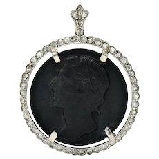Edwardian Onyx Diamond Platinum Caesar Cameo Pendant