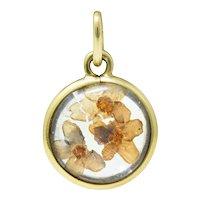 1950's Mid-Century 14 Karat Gold Pressed Flower Charm