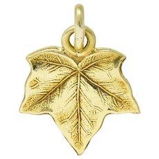 Art Nouveau 14 Karat Gold Ivy Leaf Charm