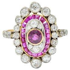 Edwardian Ruby Diamond Platinum-Topped 18 Karat Gold Dinner Ring