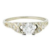 Retro 0.54 CTW Diamond 18 Karat White Gold Engagement Ring