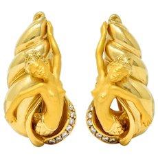 Carrera Y Carrera Diamond 18 Karat Gold Mermaid Earrings