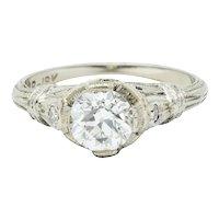 Art Deco 0.85 CTW Diamond 18 Karat White Gold Engagement Ring GIA