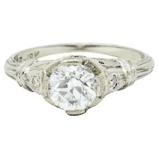 Art Deco 0.85 CTW Diamond 18 Karat White Gold Engagement Ring GIA