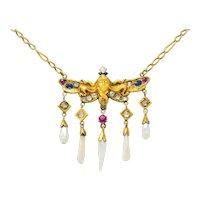 Art Nouveau Diamond Ruby Sapphire Pearl 14 Karat Gold Droplet Necklace