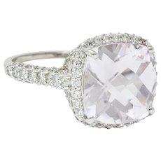 Fancy Kunzite 2.00 CTW Diamond 18 Karat White Gold Cocktail Ring