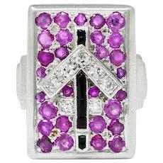 Art Deco Ruby Diamond Onyx Platinum Zodiac Sagittarius Ring