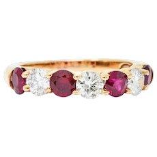 Vintage 1.92 CTW Diamond Ruby 18 Karat Rose Gold Band Ring