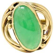 Art Nouveau Jade Cabochon 14 Karat Gold Band Ring