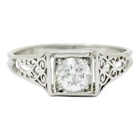 W.W. Fulmer & Co. 0.46 CTW Diamond Platinum Scrolled Heart Engagement Ring