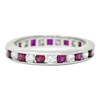 Contemporary 1.56 CTW Ruby Diamond Platinum Eternity Channel Band Ring