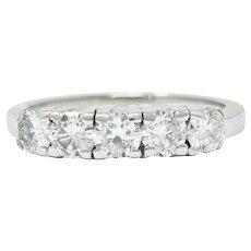Mid-Century 1.00 CTW Diamond Platinum Five Stone Band Ring